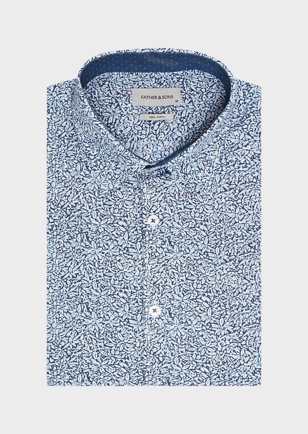 Chemise sport Regular en popeline de coton bleu jeans à motif fantaisie - Father and Sons 32534