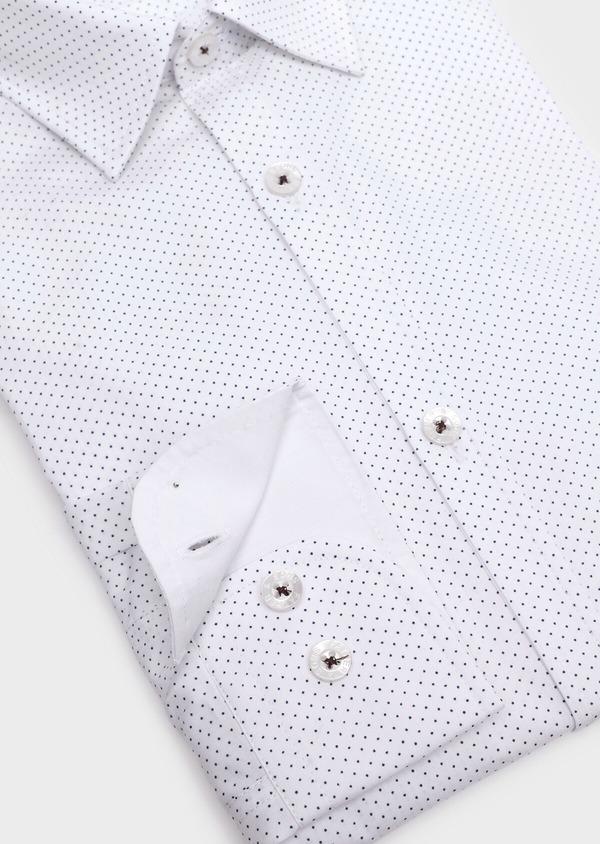 Chemise sport Regular en popeline de coton blanc à pois bleus - Father and Sons 32568