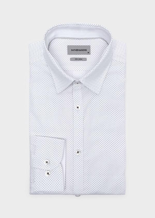 Chemise sport Regular en popeline de coton blanc à pois bleus - Father and Sons 32566