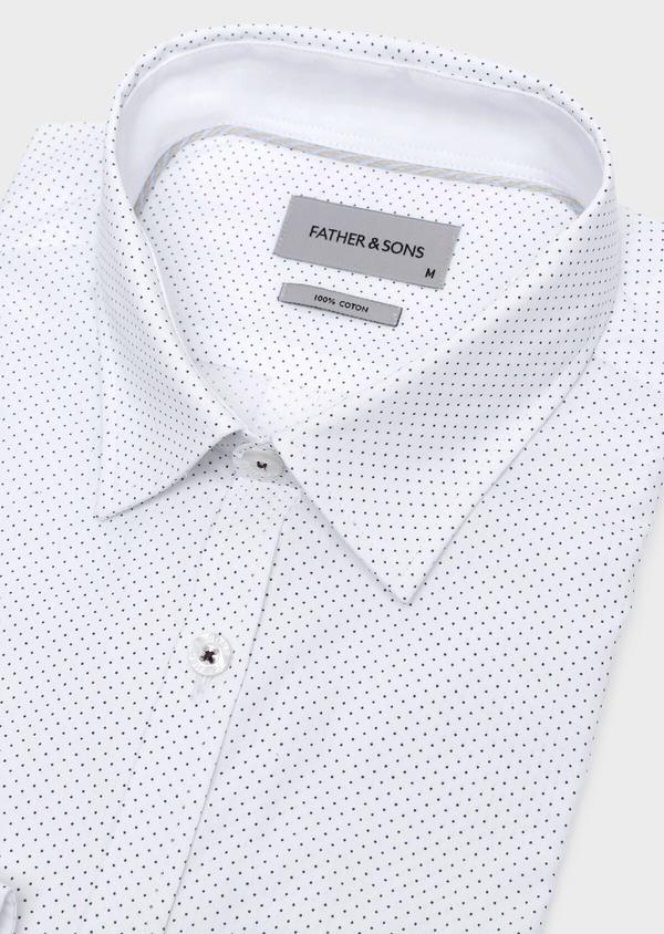 Chemise sport Regular en popeline de coton blanc à pois bleus - Father and Sons 32569