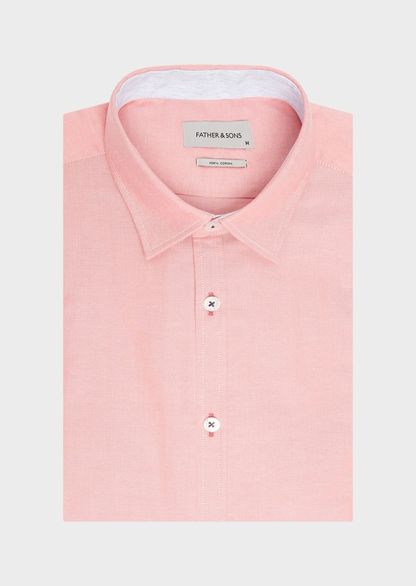 Chemise sport Regular en coton Oxford uni rose - Father and Sons 32558