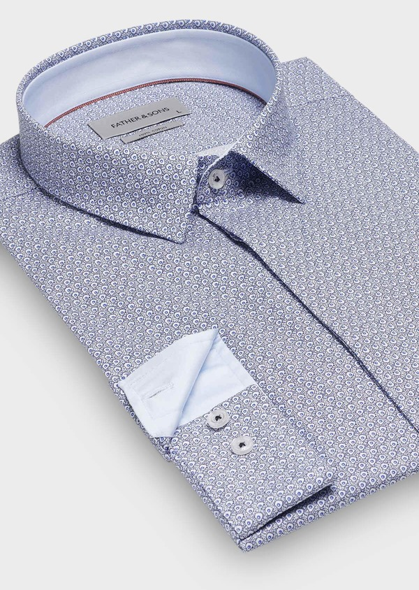 Chemise sport Slim en popeline de coton blanc à motif fantaisie bleu - Father and Sons 30068
