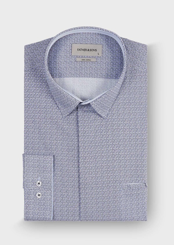 Chemise sport Slim en popeline de coton blanc à motif fantaisie bleu - Father and Sons 30067