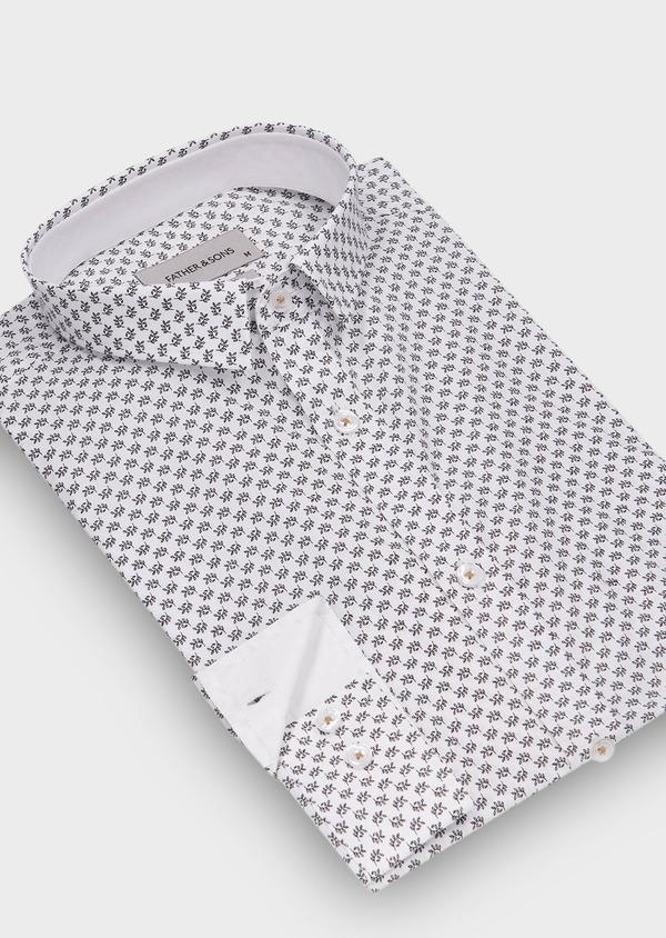 Chemise sport Slim en popeline de coton blanc à motif fantaisie noir - Father and Sons 30084