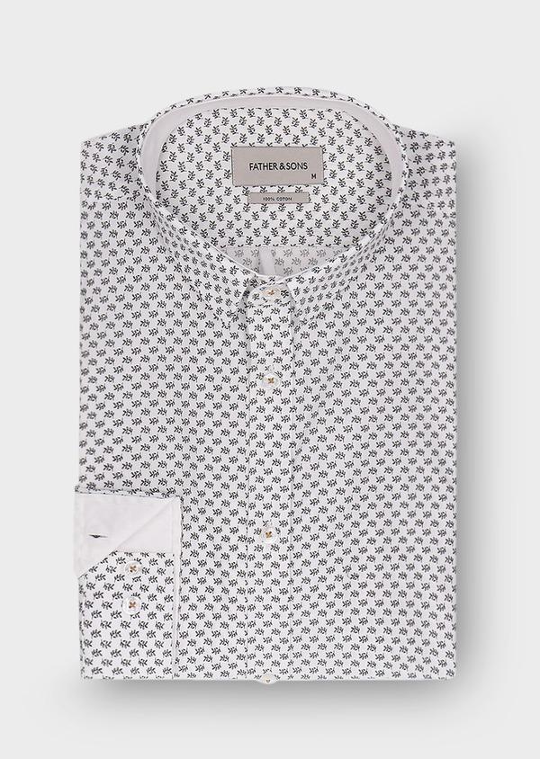 Chemise sport Slim en popeline de coton blanc à motif fantaisie noir - Father and Sons 30083