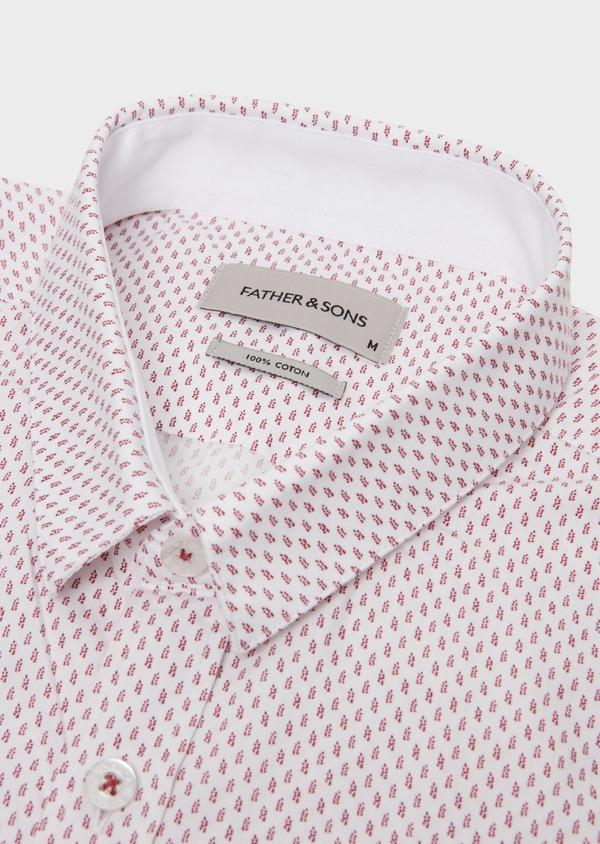 Chemise sport Slim en popeline de coton à motifs fantaisie roses - Father and Sons 20109