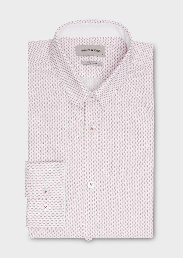Chemise sport Slim en popeline de coton à motifs fantaisie roses - Father and Sons 20108