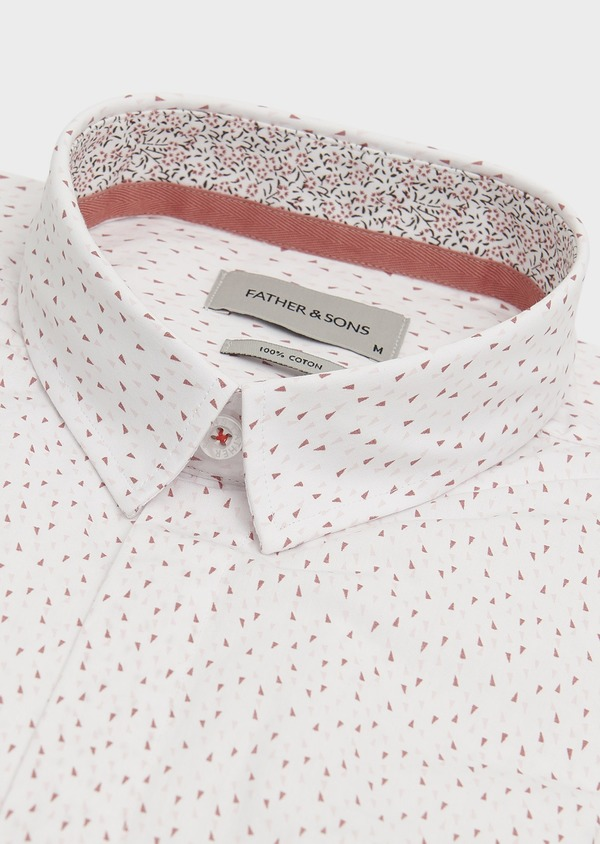 Chemise sport Slim en popeline de coton à motifs triangles roses - Father and Sons 18269