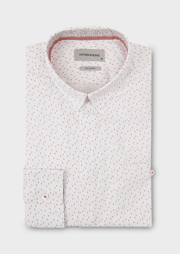 Chemise sport Slim en popeline de coton à motifs triangles roses - Father and Sons 18267
