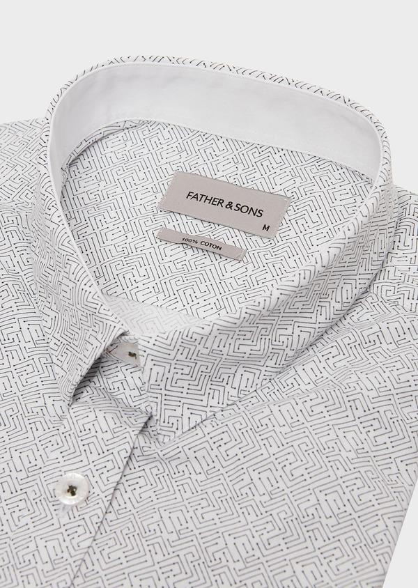 Chemise sport Slim en popeline de coton blanc à motif fantaisie bleu - Father and Sons 26270