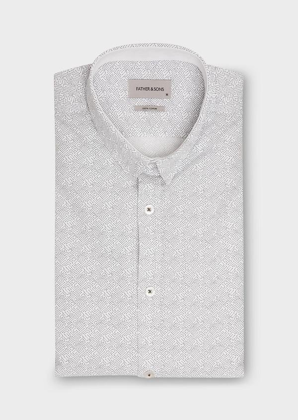 Chemise sport Slim en popeline de coton blanc à motif fantaisie bleu - Father and Sons 26268
