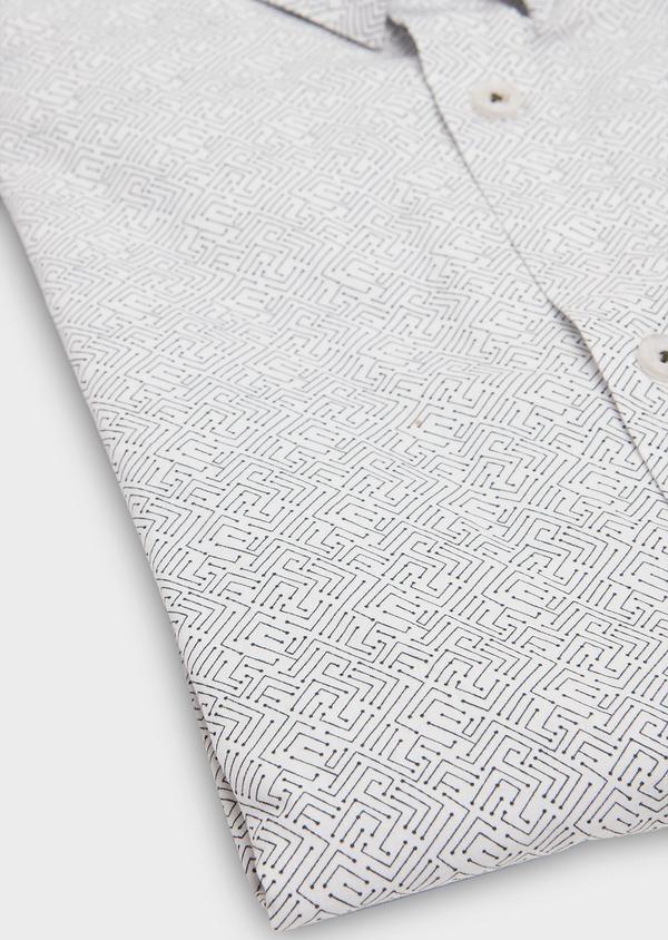 Chemise sport Slim en popeline de coton blanc à motif fantaisie bleu - Father and Sons 26271