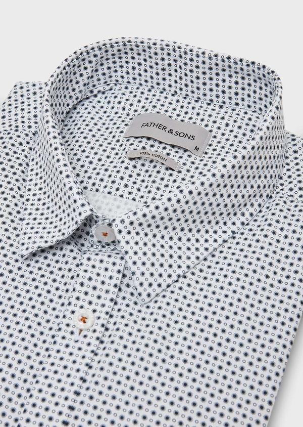 Chemise sport Slim en popeline de coton blanc à motif fantaisie - Father and Sons 27283