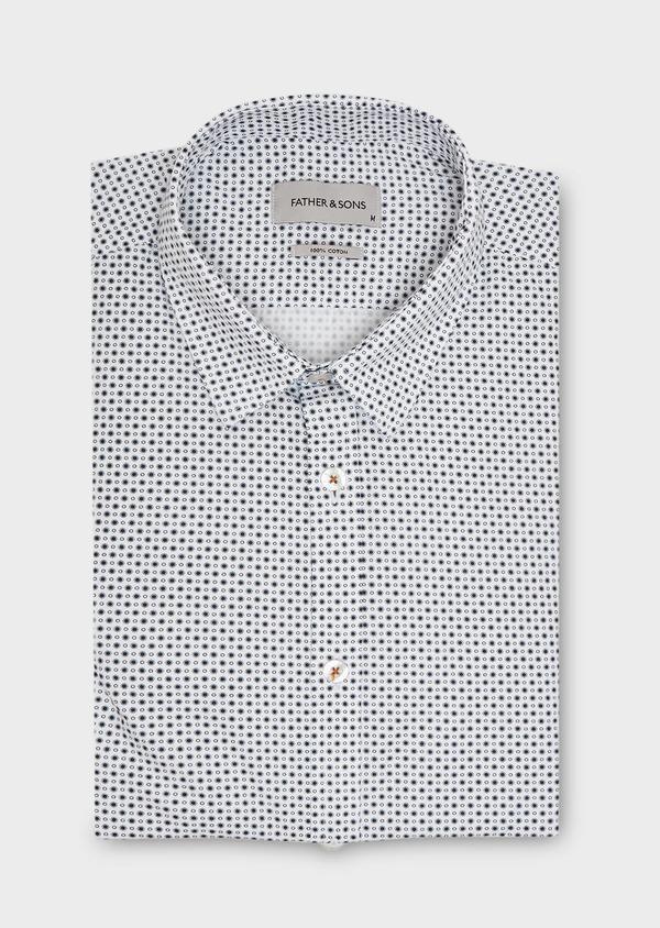 Chemise sport Slim en popeline de coton blanc à motif fantaisie - Father and Sons 27281