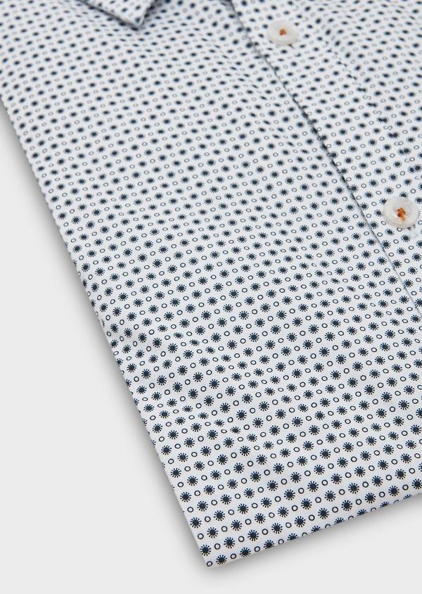 Chemise sport Slim en popeline de coton blanc à motif fantaisie - Father and Sons 27284