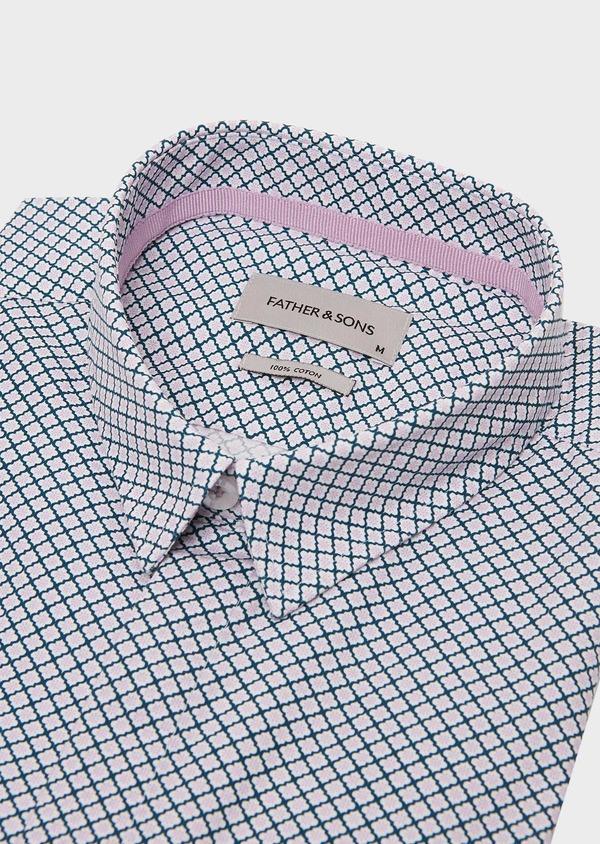 Chemise sport Slim en popeline de coton blanc à motif fantaisie rose et bleu - Father and Sons 26319