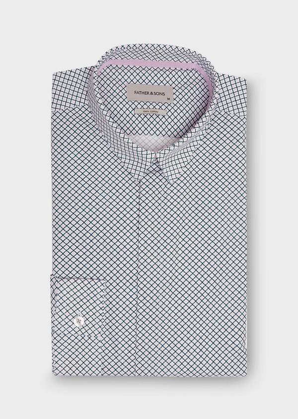 Chemise sport Slim en popeline de coton blanc à motif fantaisie rose et bleu - Father and Sons 26317