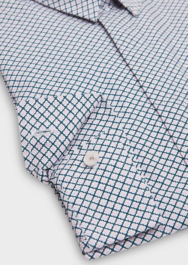 Chemise sport Slim en popeline de coton blanc à motif fantaisie rose et bleu - Father and Sons 26320