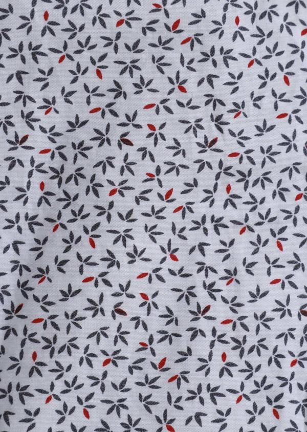 Chemise sport Slim en popeline de coton blanc à motif fantaisie - Father and Sons 30597