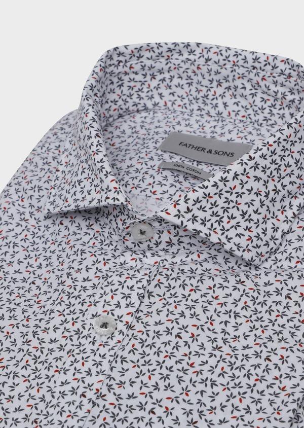 Chemise sport Slim en popeline de coton blanc à motif fantaisie - Father and Sons 30598