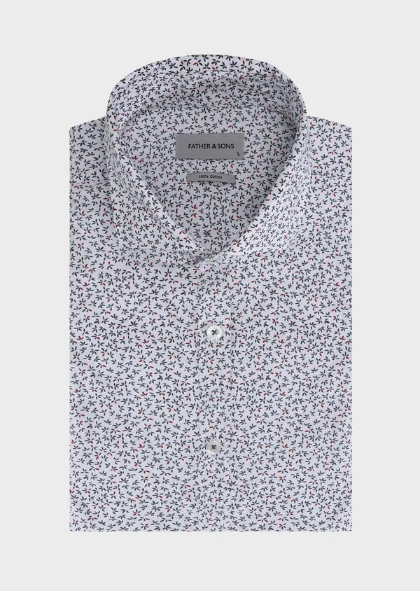 Chemise sport Slim en popeline de coton blanc à motif fantaisie - Father and Sons 30596