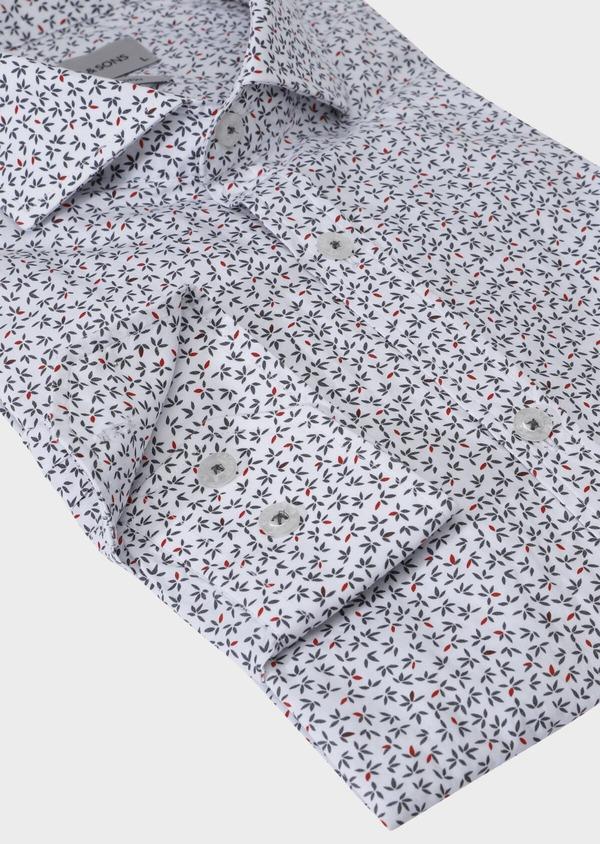 Chemise sport Slim en popeline de coton blanc à motif fantaisie - Father and Sons 30599