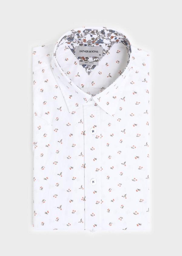 Chemise manches courtes Slim en popeline de coton à motif fantaisie blanc - Father and Sons 34390