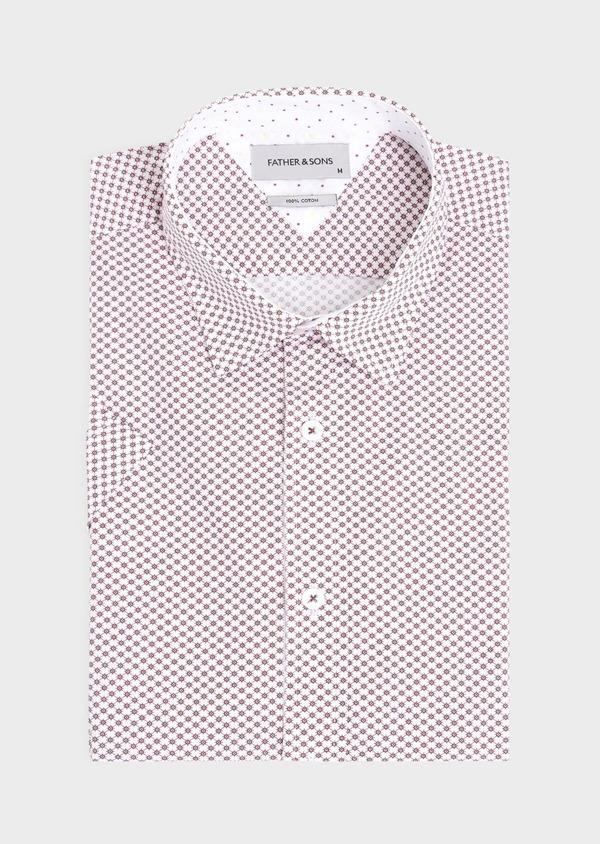 Chemise manches courtes Slim en popeline de coton blanc à motif fantaisie - Father and Sons 34357