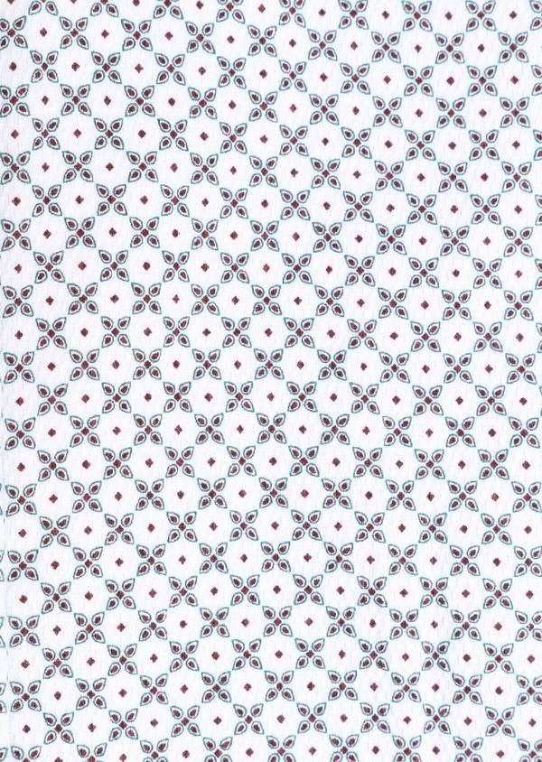 Chemise manches courtes Slim en coton façonné blanc à motif fantaisie - Father and Sons 34404