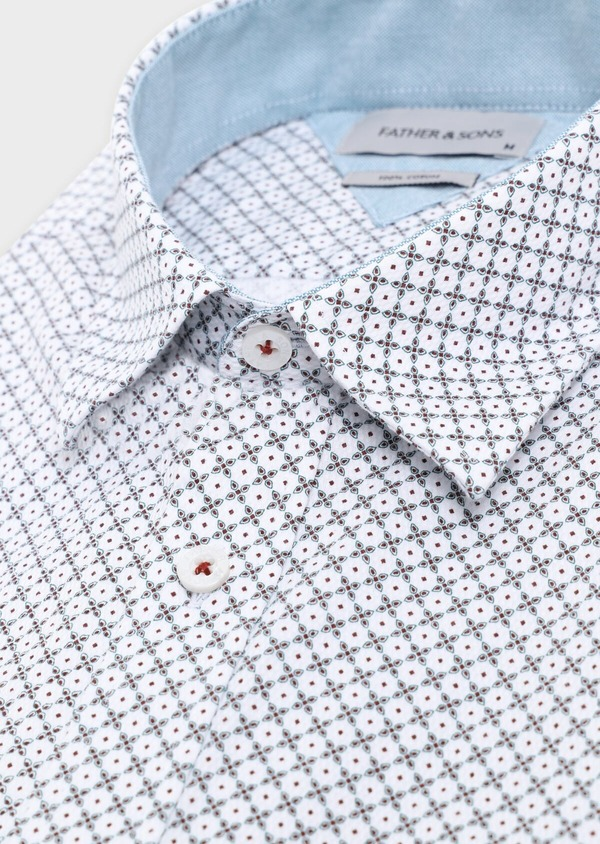 Chemise manches courtes Slim en coton façonné blanc à motif fantaisie - Father and Sons 34405