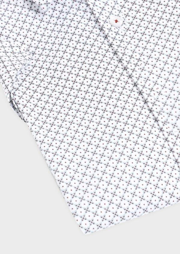 Chemise manches courtes Slim en coton façonné blanc à motif fantaisie - Father and Sons 34406