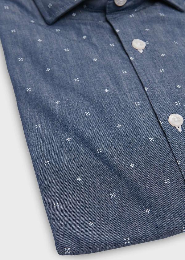 Chemise sport Slim en popeline de coton saphir à motif fantaisie blanc - Father and Sons 26313