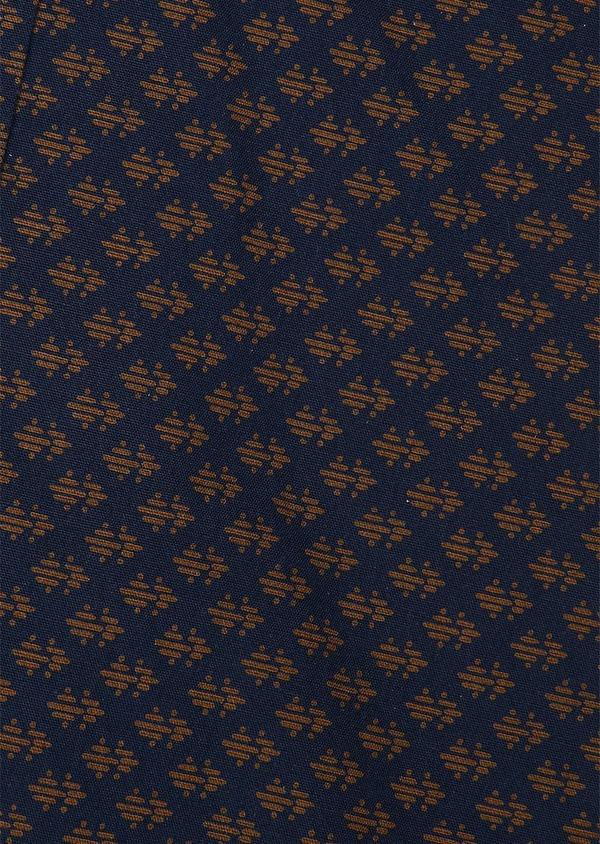 Chemise sport Slim en popeline de coton marine à motif fantaisie camel - Father and Sons 26290