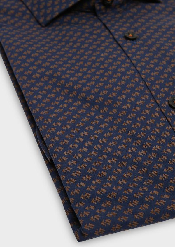 Chemise sport Slim en popeline de coton marine à motif fantaisie camel - Father and Sons 26292
