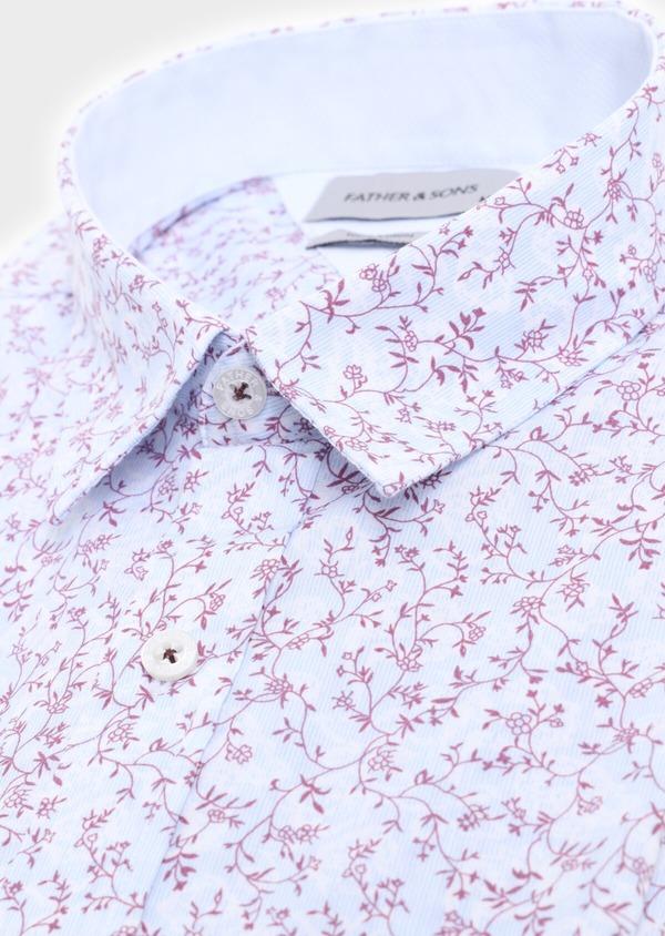 Chemise manches courtes Slim en popeline de coton bleu ciel à motif fantaisie - Father and Sons 34396