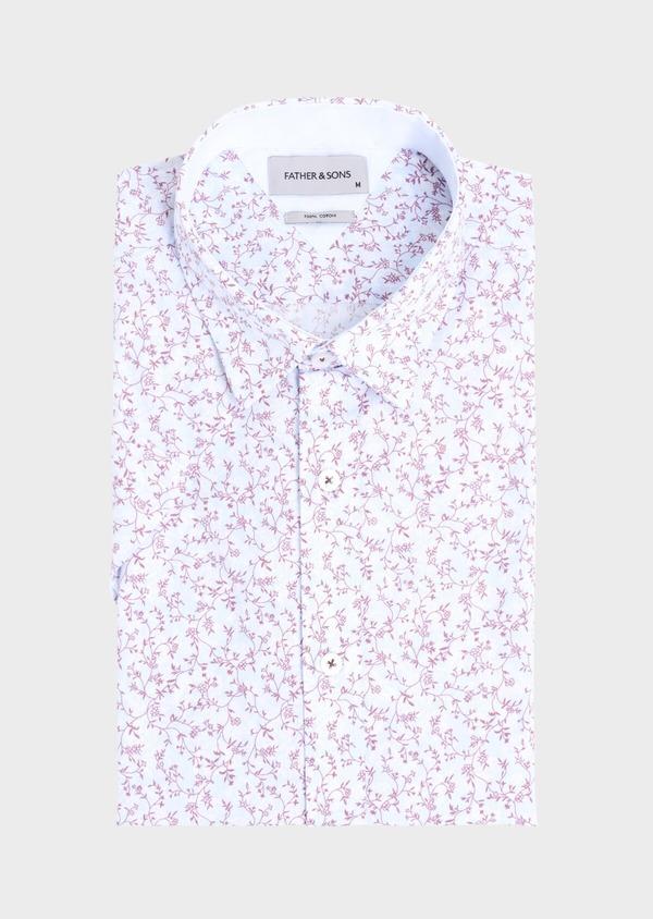 Chemise manches courtes Slim en popeline de coton bleu ciel à motif fantaisie - Father and Sons 34394