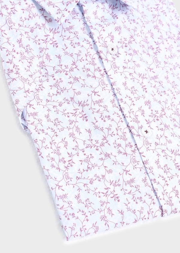Chemise manches courtes Slim en popeline de coton bleu ciel à motif fantaisie - Father and Sons 34397