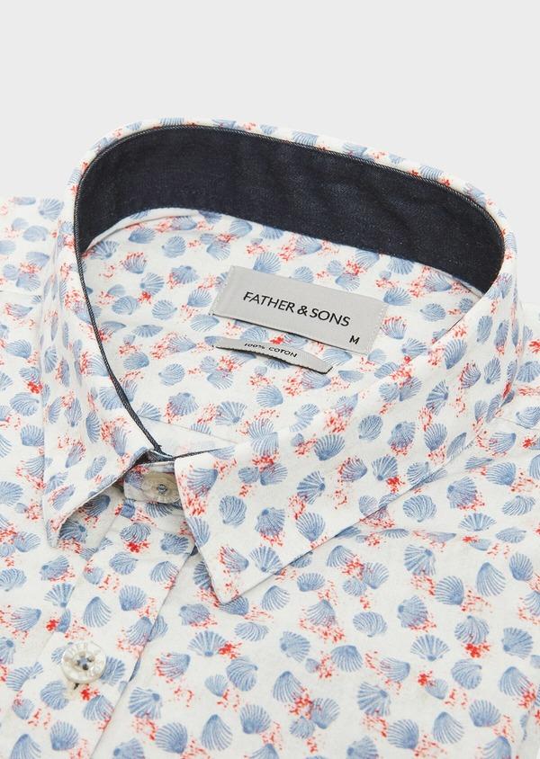 Chemise sport Slim en popeline de coton beige à motif fantaisie bleu et rouge - Father and Sons 32604