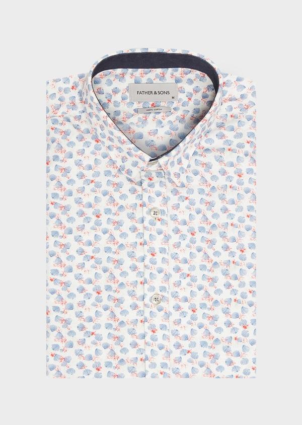 Chemise sport Slim en popeline de coton beige à motif fantaisie bleu et rouge - Father and Sons 32602
