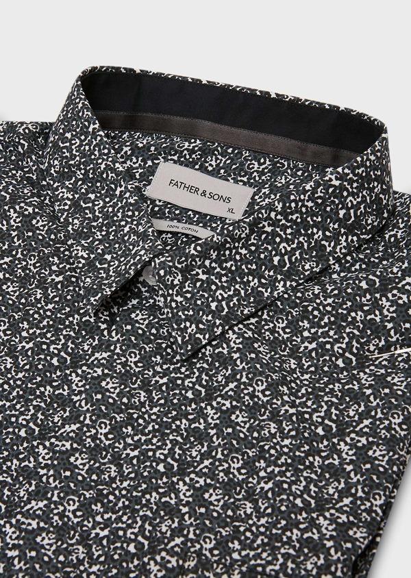Chemise sport Slim en popeline de coton gris à motif fantaisie - Father and Sons 27269