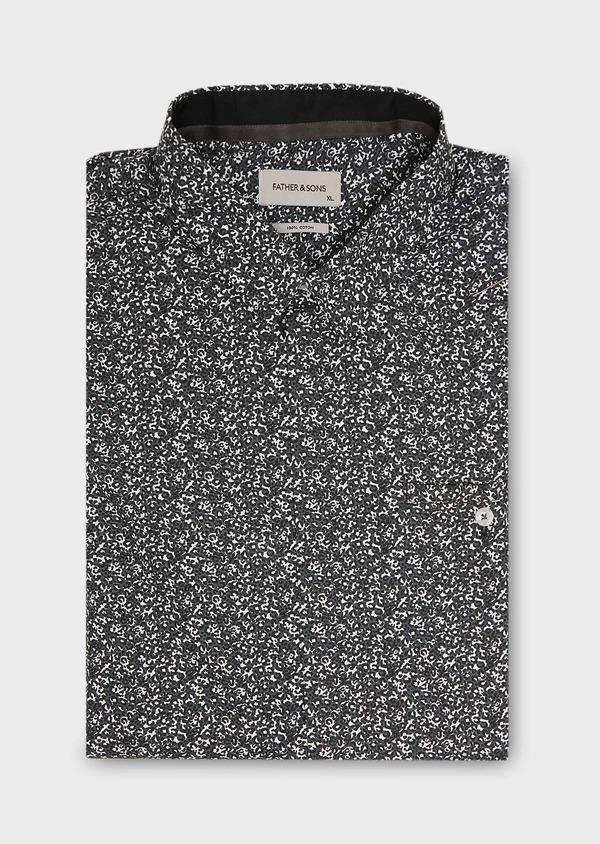 Chemise sport Slim en popeline de coton gris à motif fantaisie - Father and Sons 27267