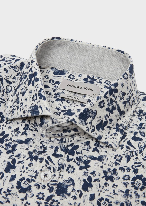 Chemise sport Slim en popeline de coton à motif fantaisie gris - Father and Sons 26326
