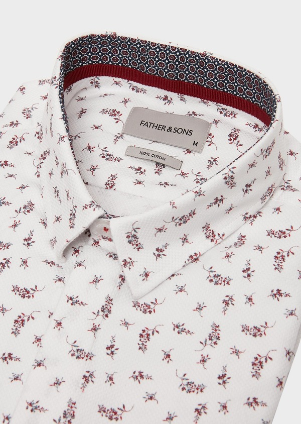 Chemise sport Slim en coton façonné blanc à motif fleuri rouge - Father and Sons 26340