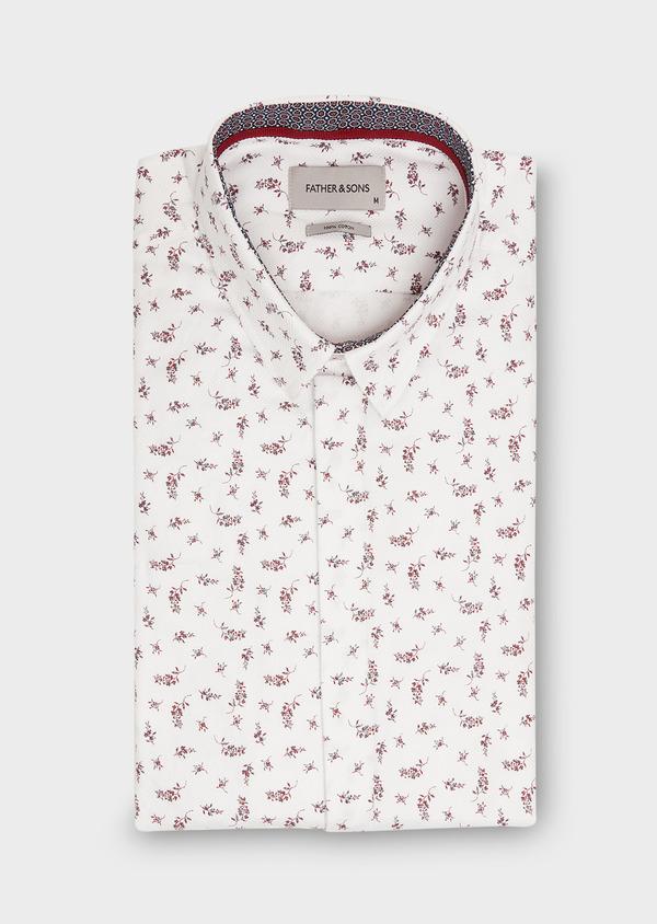 Chemise sport Slim en coton façonné blanc à motif fleuri rouge - Father and Sons 26338