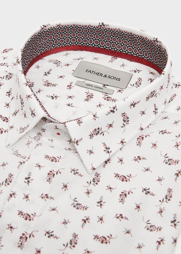 Chemise sport Slim en façonné de coton blanc à motif fleuri - Father and Sons 31393