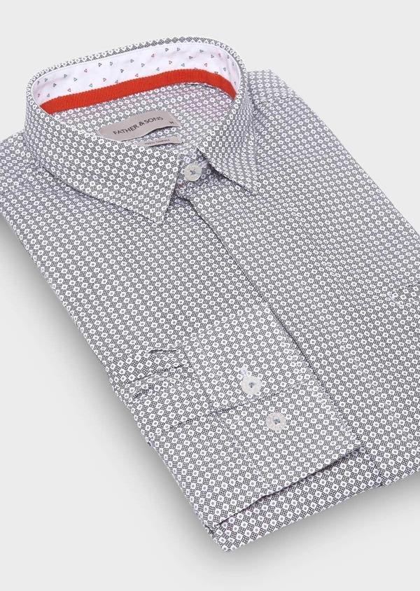 Chemise sport Slim en popeline de coton à motif fantaisie noirs - Father and Sons 29646