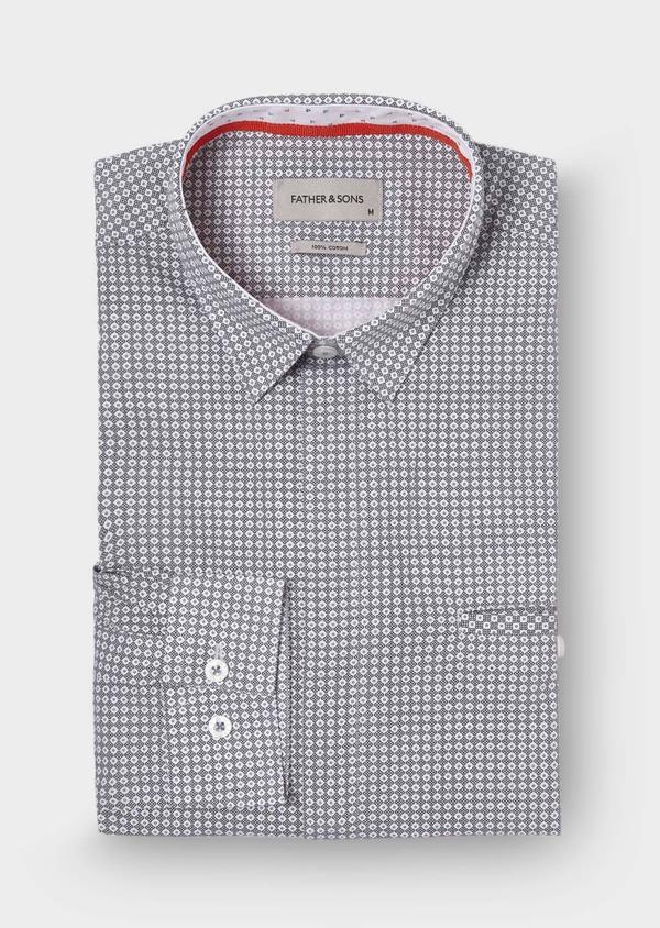 Chemise sport Slim en popeline de coton à motif fantaisie noirs - Father and Sons 29645
