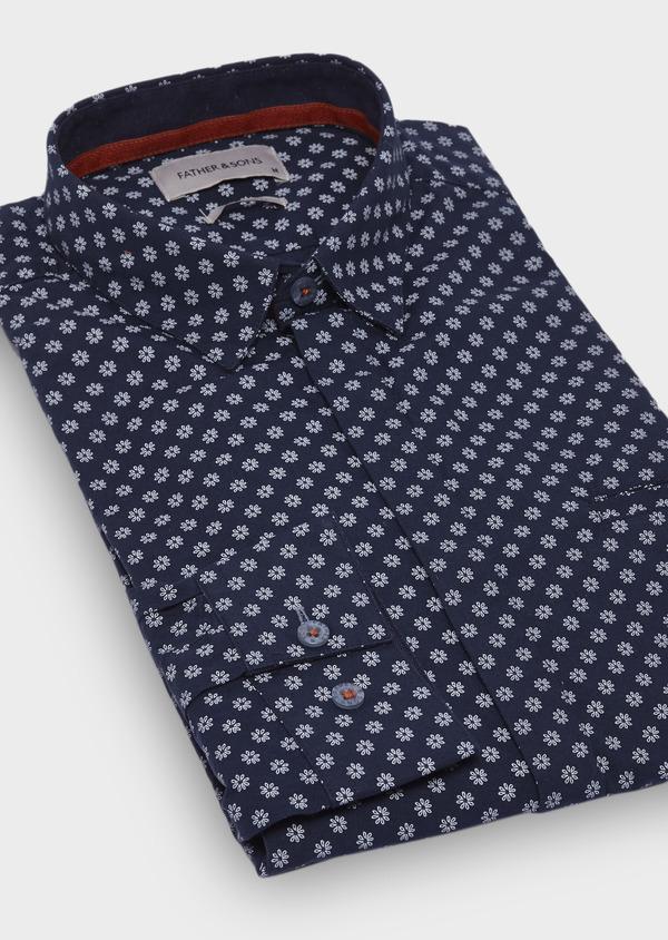 Chemise sport Slim en popeline de coton bleu foncé à motif fleuri blanc - Father and Sons 29686