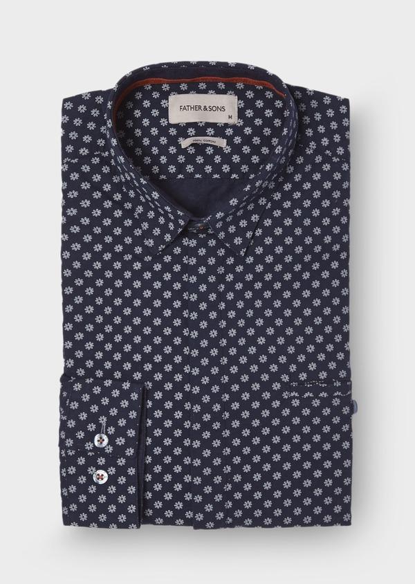 Chemise sport Slim en popeline de coton bleu foncé à motif fleuri blanc - Father and Sons 29685