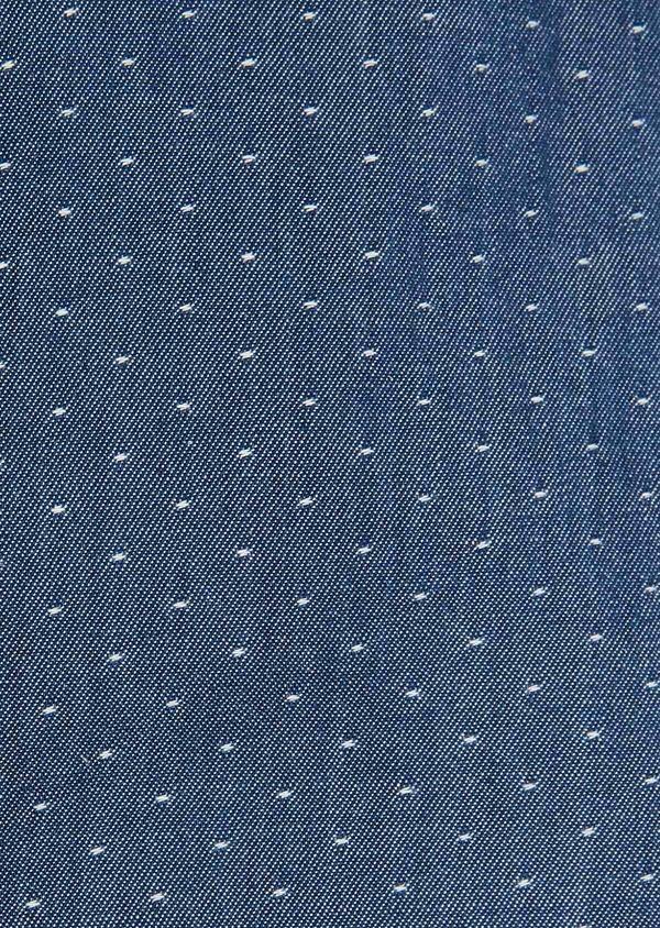 Chemise sport Slim en twill de coton bleu jeans à pois blancs - Father and Sons 32527